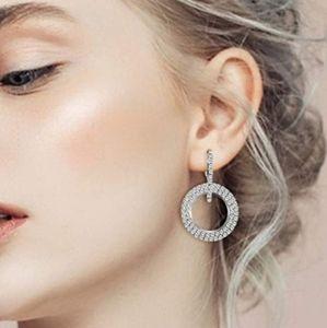 Sparkle Circle CZ Silver Tone Earrings